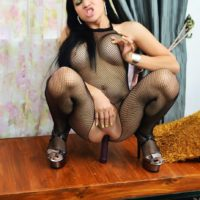 Kinky brunette ladyboy Vitress Tamayo toying asshole in mesh bodystocking
