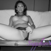 Leggy Asian tranny Sapphire Young jerking off hard cock in high heels