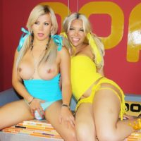 Blonde tranny Percy Princess and her trans friend go shemale on shemale in pigtails