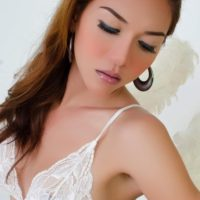 Asian tranny Sapphire Young jerking big cock to cumshot finale in lingerie