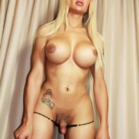 Big boobed tranny Azeneth Sabrok jacking off hung shecock after panty removal