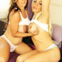 Blonde shemale Angeles Cid and trans girlfriend whip out big tits and large cocks