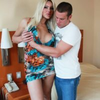 Leggy blonde shemale Azeneth Sabrok loosing huge tits from dress in high heels