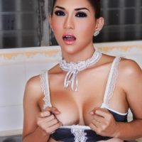 Solo Asian ladyboy Sapphire Young flashing nice tits and hung cock in kitchen
