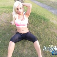Blonde shemale Angeles Cid letting juicy trans ass loose from yoga pants outdoors