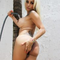 Blonde shemale pornstar Angeles Cid running water over large tits outdoors