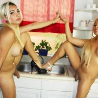 Blonde trans chick Angeles Cid and TS lover flaunt big cocks in pigtails and heels