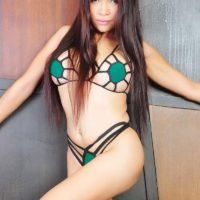 Cute Asian ladyboy Vitress Tamayo loosing nice round tits from sexy lingerie