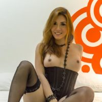 Cute redhead tranny model Sapphire Young posing in sexy lingerie for glamour spread
