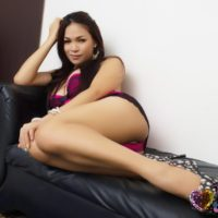 Cute solo ladyboy Vitress Tamayo teasing in sexy lingerie and high heeled pumps
