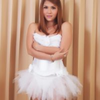 Exotic Asian tranny Sapphire Young modeling non nude in cute ballerina outfit