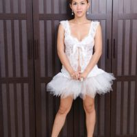 Japanese ladyboy Sapphire Young flashing hard cock underneath ballerina outfit