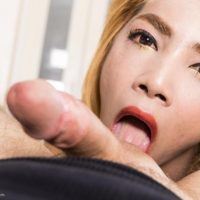 Redhead ladyboy Ning 2 giving rimjob and lick ball sac in crotchless bodystocking