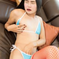 Young brunette ladyboy Meen 2 giving BJ in fishnets before anal toying and fucking