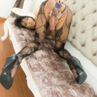 Brunette Asian tranny Jame flaunting huge cock in sexy stockings before BB anal sex