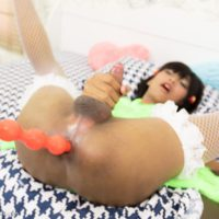 Brunette Asian tranny Modnoy sporting anal gape after anal toying and BB ass fucking