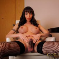 Busty brunette Latina shemale Mariana Cordoba releasing huge cock from panties