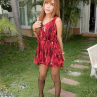 Pretty redhead ladyboy Naomi toying asshole before giving BJ and taking BB anal sex