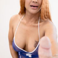 Redhead Asian TS Jasmine displaying huge cock before giving BJ and taking BB anal