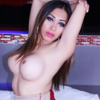 Beautiful transsexual solo model Nina Stronghold flaunting big trans boobs