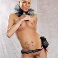 Smoking tranny Blondie Johnson flaunting firm tits and big cock wearing a garter