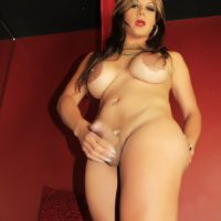 Solo transsexual model Naomi Chi freeing large cock and huge tits from lingerie