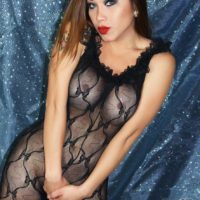 Brunette shemale model Nina Stronghold letting big tits free from bodystocking