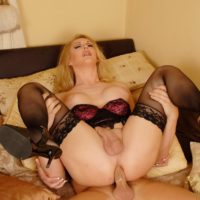 Busty blonde shemale giving large cock oral sex before bareback ass fucking