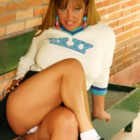 Cute Latina tranny flashing upskirt panties before removing school uniform