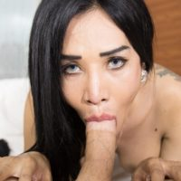 Sexy Asian ladyboy Bola removing sheer lingerie before oral and anal sex