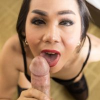 Skinny brunette ladyboy Judy 2 getting butt fucked by large cock after giving a BJ