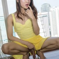 Brunette ladyboy Pooh jerking off her massive cock while getting ass fucked
