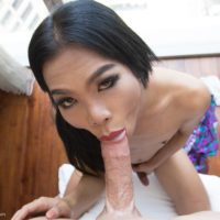 Dark haired Asian ladyboy Book sucking cock and playing hardcore anal games