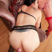 Dark haired ladyboy Kartoon having threesome with her tranny girlfriends