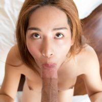 Redhead Asian ladyboy Tyra taking hard anal after giving guy a BJ and handjob