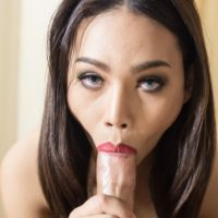 Teen ladyboy Boss sucking cock on her knees before hard bareback anal fucking