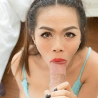 Young Asian ladyboy Pook removing butt plug from asshole before hard anal sex