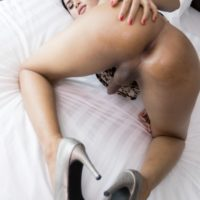 Brunette ladyboy Ni takes a bareback ass fucking from a man's big cock