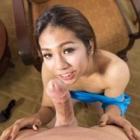 Ladyboy Aris licks and sucks a man's big dick after toying her own asshole