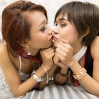 Ladyboy Many and her trans girlfriend sucks each others cock in schoolgirl clothes