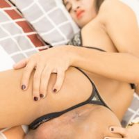 Ladyboy Summer toys her asshole before giving oral sex to a man