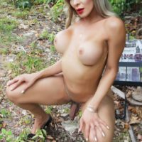 Naked shemale Nelly Ochoa shows off her big tits and cock in the woods