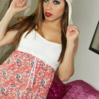 Solo shemale model Nina Stronghold flashes her upskirt cock wearing a sunhat