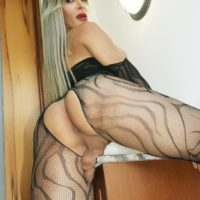 TS pornstar Nelly Ochoa shows off her big tits and cock in a crotchless bodystocking