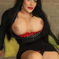 Dark haired shemale Sina Latina exposes her huge boobs and big tranny dick