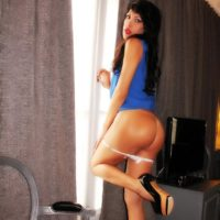 Dark haired tranny Nicole Big Caliber slides her panties aside to expose her huge dick