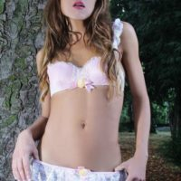 Shemale solo model Nicole Big Caliber display her big tranny cock in the woods