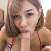 Ladyboy Noey takes a big cock up her gaped asshole from a man in POV mode