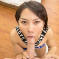 Asian ladyboy Tou licks a hard cock after bareback anal sex with a man POV style
