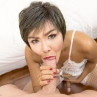 Asian ladyboy with short hair Nice sucks on a sex tourist's dick before and after anal